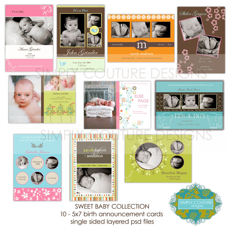 Simply Couture Designs custom photo card templates including – Birth Announcement Card Templates