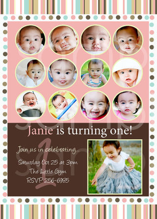 Simply couture designs custom photo card templates including baby pinkbrownstripsdotsonebday copy maxwellsz