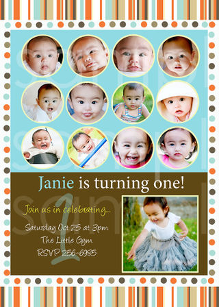 Simply couture designs custom photo card templates including baby orangebluestripsdotsonebday copy first year birthday invite collage bookmarktalkfo Choice Image